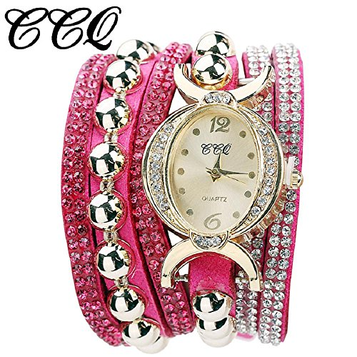 Women Wrist Watch Hosamtel Casual Multilayer Bracelet Rhinestone Leather Analog Quartz Watch-CCQ (Rose Red)