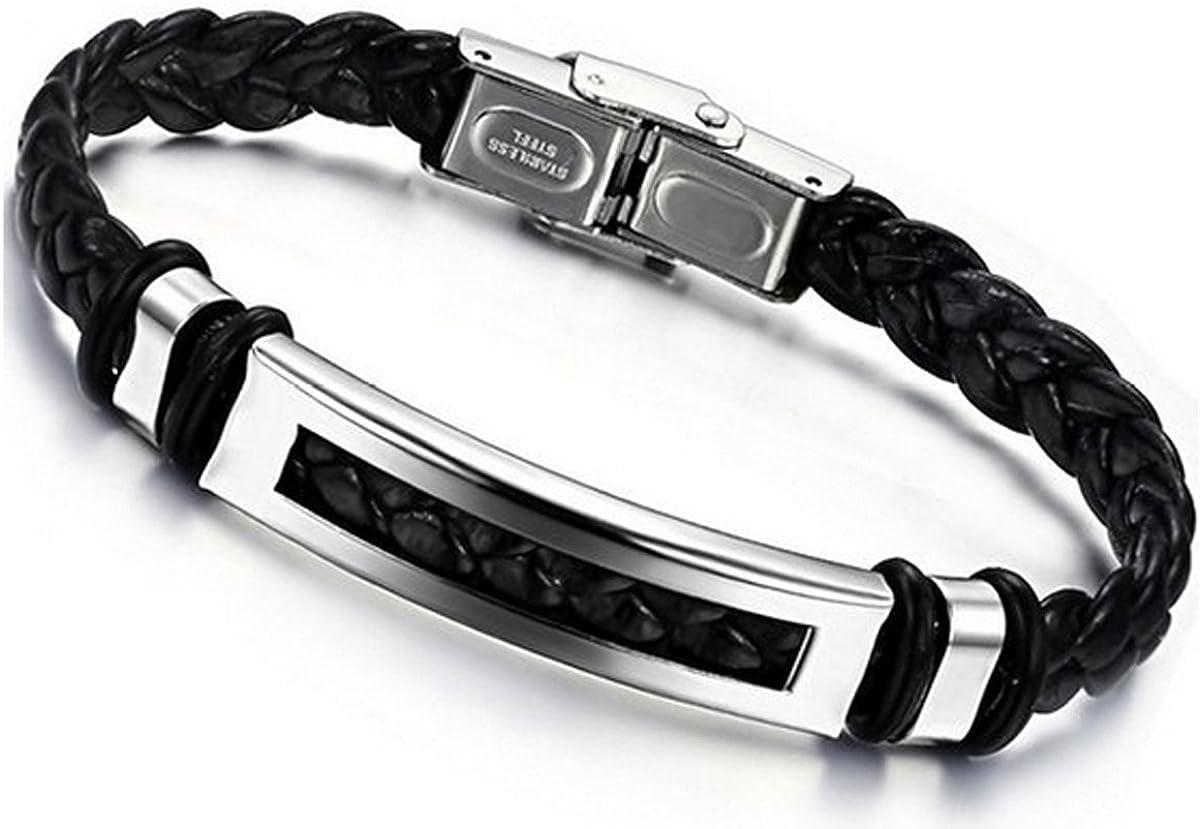 Jstyle Joyería para Hombre Negro de Acero Inoxidable Pulsera de Cuero Trenzado Largo 20cm/21,5cm