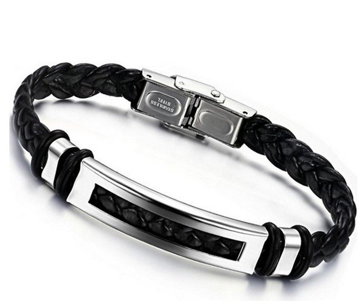 Jstyle Bijoux Bracelet Homme Acier Inoxydable Cordon en Cuir - 20 cm de longueur - 10 mm de largeur frj4003