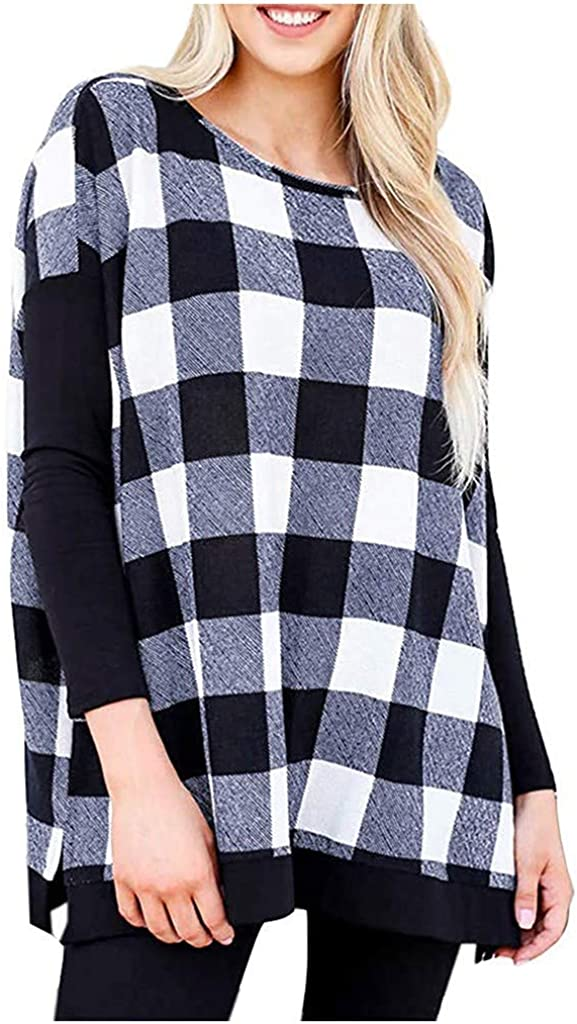 Eoeth Womens Plaid Cross Stitching Tunic Tops 3//4 Sleeve O Neck Pullover Tops T-Shirt Blouse Casual Loose Tracksuits