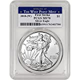 2018 (W) American Silver Eagle (1 oz) First Strike West Point Label $1 MS70 PCGS