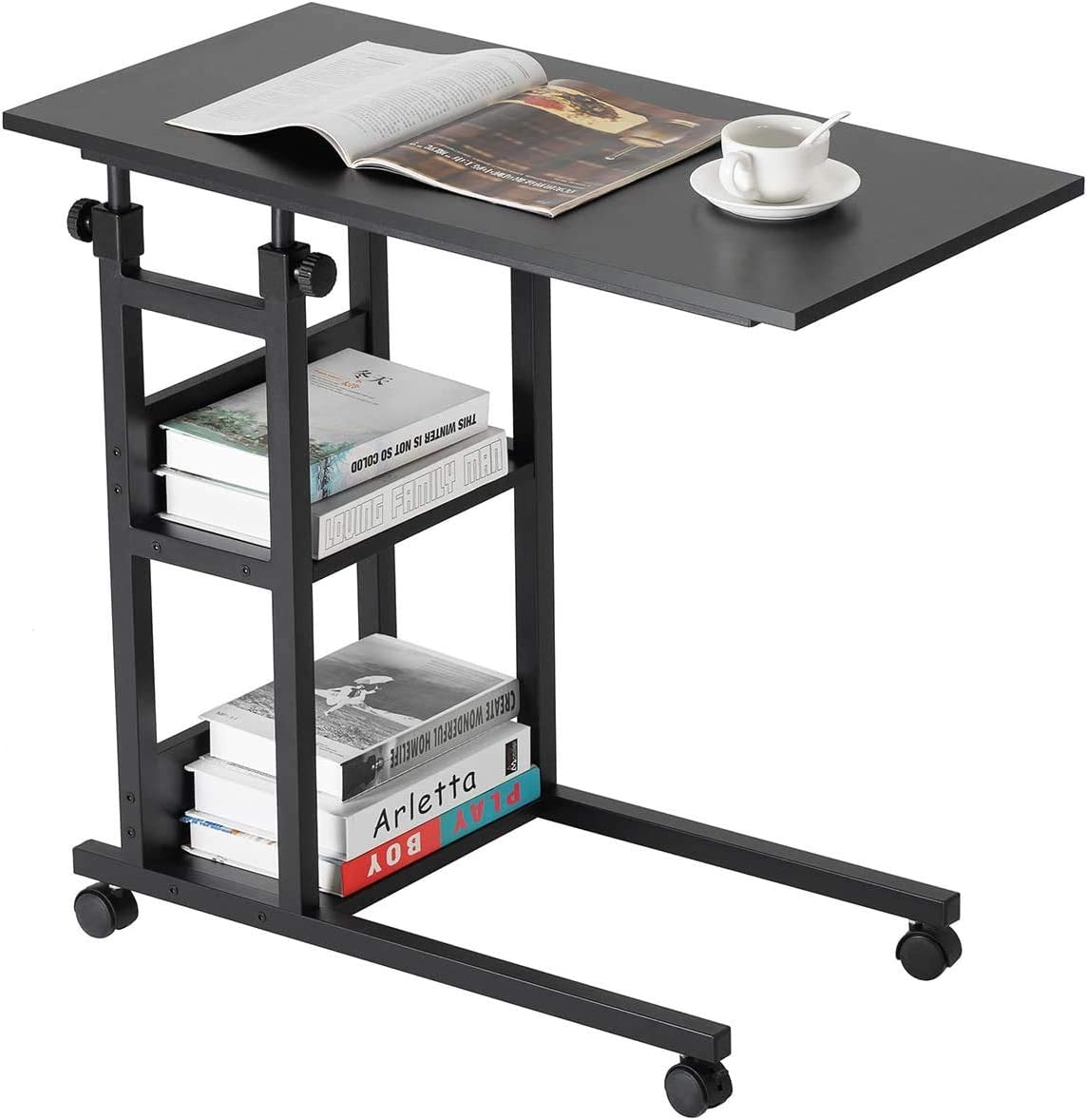 BAOLEJIA Home Office Desk Sofa Side Computer Table with Wheels, Adjustable C-Shape Snack Mobile End Table with 3-Tier Storage Shelves for Sofa Couch, Bed Side Table for Coffee Laptop Tablet - Black
