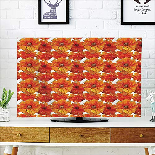 iPrint LCD TV Cover Lovely,Burnt Orange,Big Flourishing Bohemian Poppies on Antique Background Graphic Home Decorative,Burnt Orange White,Diversified Design Compatible 47