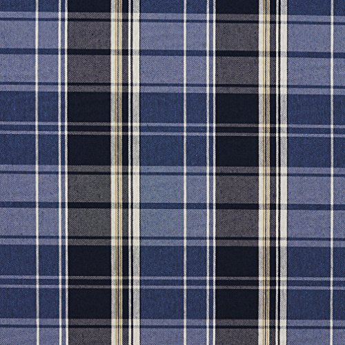 E809 Dark and Light Blue Classic Plaid Jacquard Upholstery Fabric By The Yard (Dark Blue Cotton Upholstery)