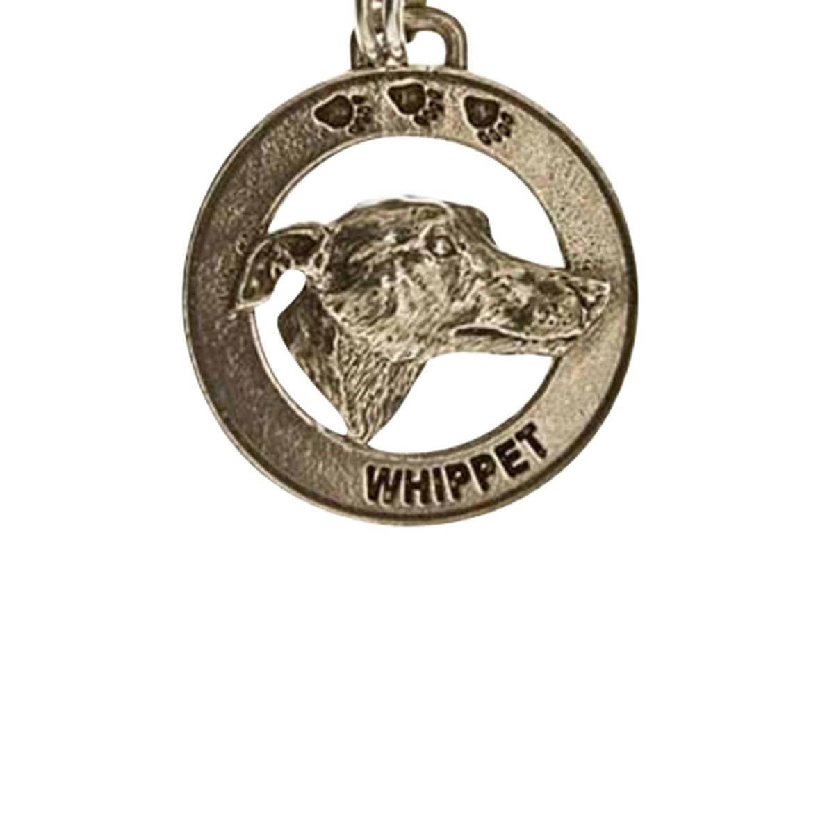Creative Pewter Designs, Pewter Whippet Key Chain, Antiqued Finish, DK182