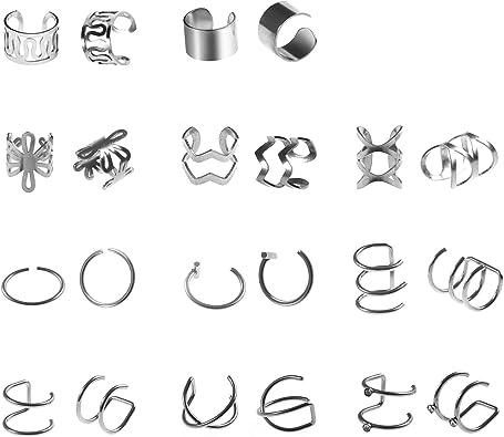 11 Pares de Puño de Oreja Pendientes de Cartílago de Acero Inoxidable Plata Clip sin Perforación Pendientes de Cartílago para Hombres Mujers Niñas Ear Cuff Ear Clip Sin Piercing: Amazon.es: Joyería