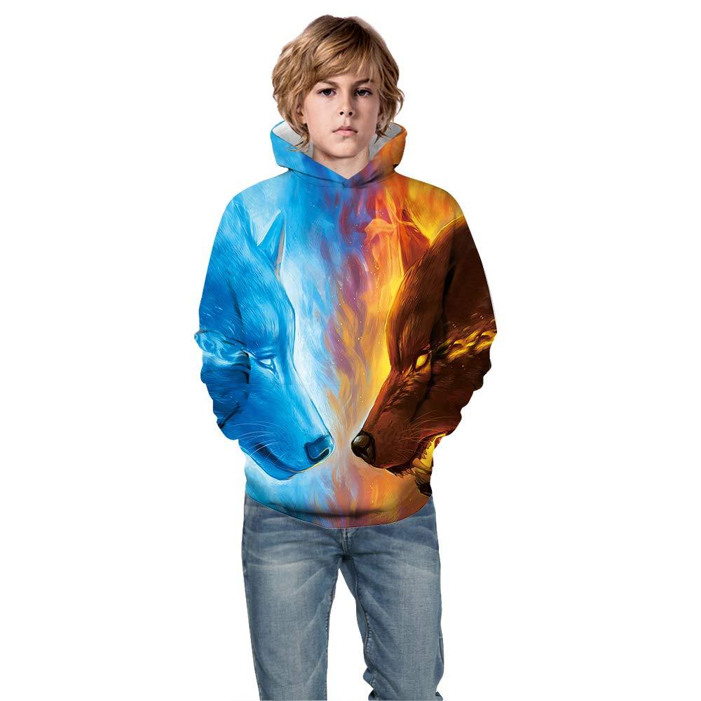 Teen Girls Boys Fleece Sweatshirts 3D Printed Hoodies with Pocket Pullover Tops 4-13Y