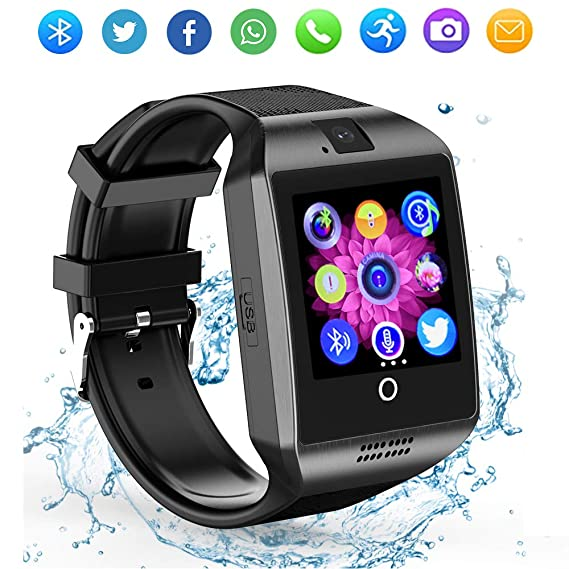 Bluetooth Smart Watch Touch Screen with TF/SIM Card Slot Camera, ZRSJ Smartwatch Sports Fitness Tracker Wristwatch for Android Samsung Smartphones ...