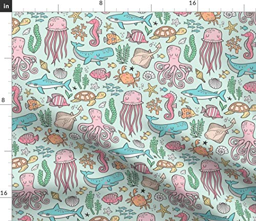 Spoonflower Ocean Fabric - Ocean Sea Nautical Octopus Shark Fish Sea Turtle Print on Fabric by The Yard - Minky for Sewing Baby Blankets Quilt Backing Plush Toys