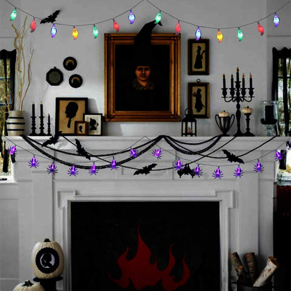 Halloween Battery Operated led Fairy String Lights White Ghosts, Purple Bats, Orange Pumpkins 30 LEDs Battery Powered Lights for Halloween, Christmas, Holiday Party Decoration