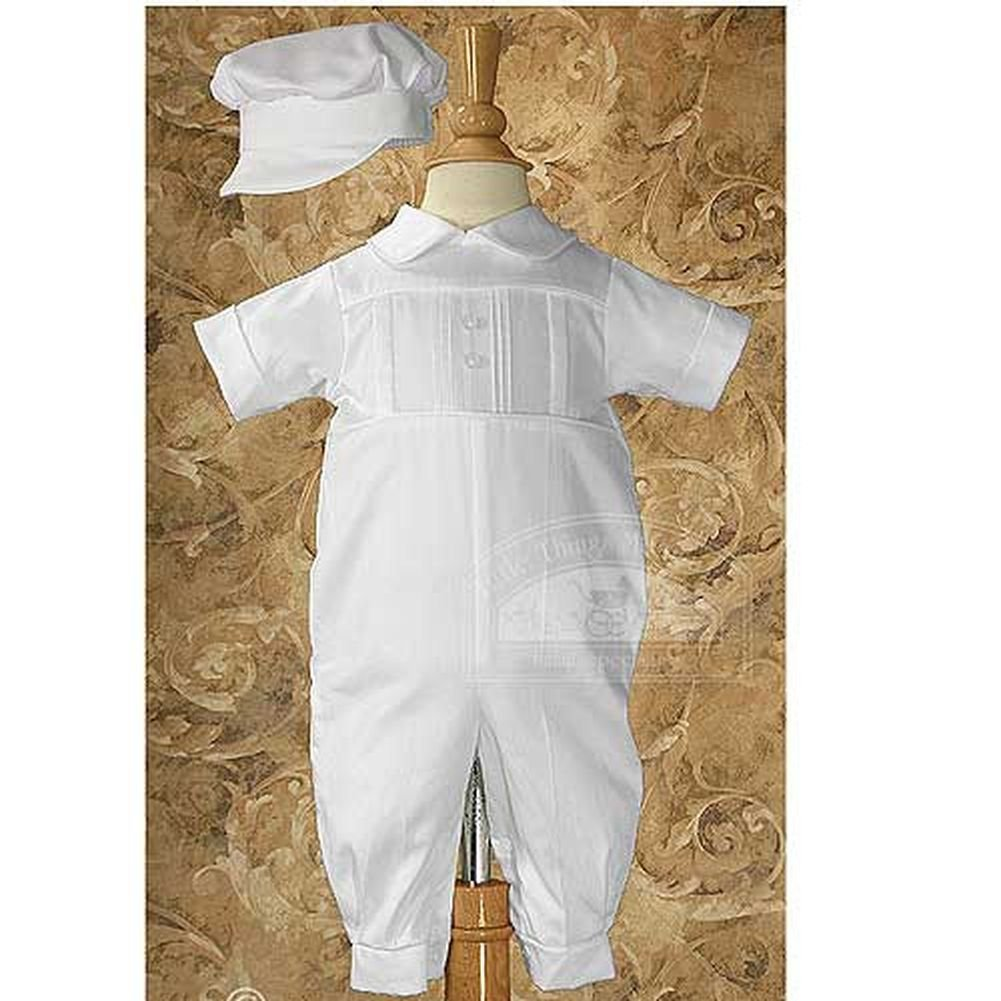 Baby Boys White Cotton Pleated Baptism Outfit Suit 3M