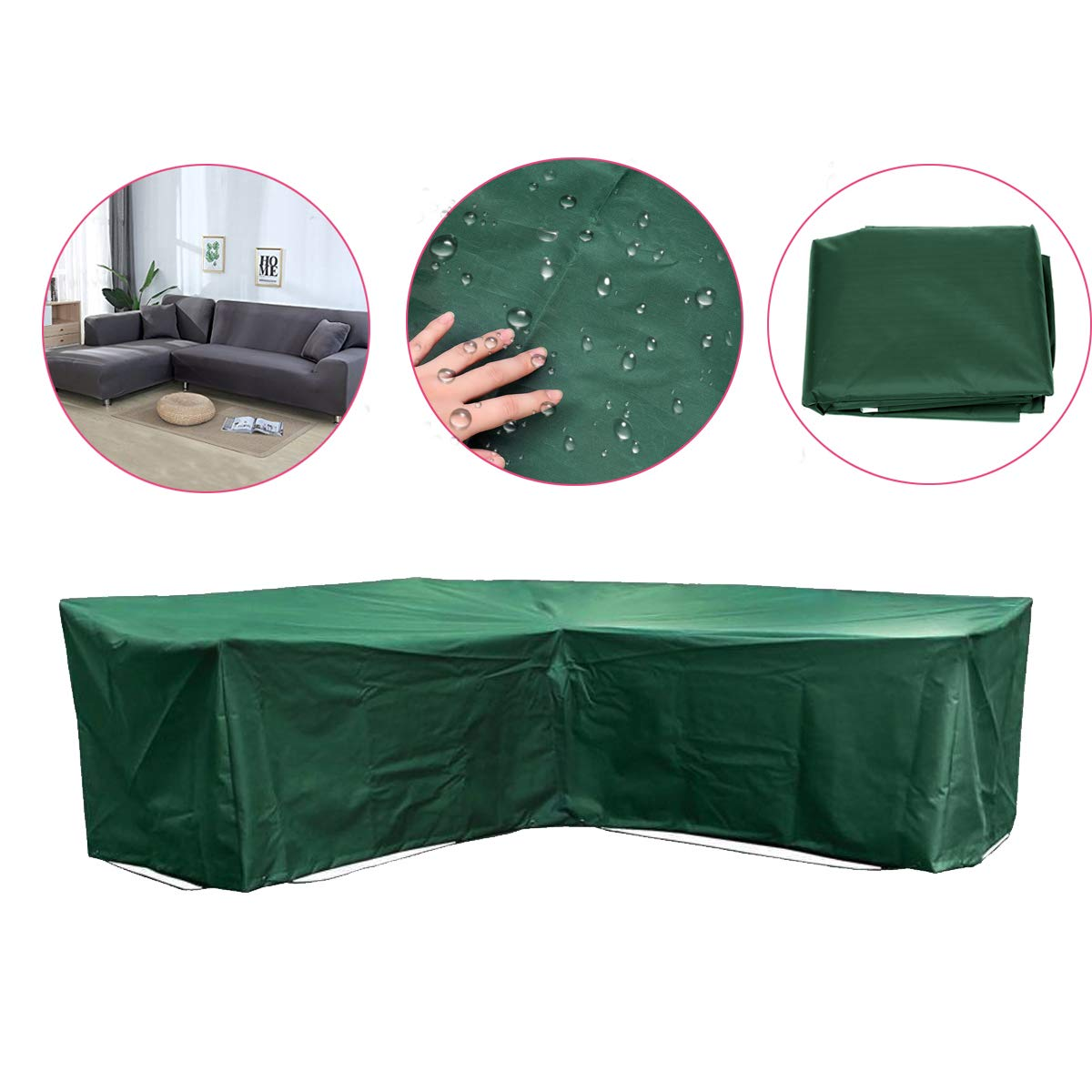 84''x84''x31'' Green Outdoor L Shape Sofa Furniture Cover  Furniture Outdoor Outside Cover Protection Canopy Awning Cloth Shade Sun Patio Garden Table Chair