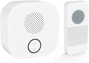 White Wireless Door Bell Kit,SURNICE Mini Wireless Doorbell for Home with 1 Push Button Transmitter and 1 Receivers,Operated Door Bells,Long Range Waterproof Wireless Door Bell (Plug In Version)