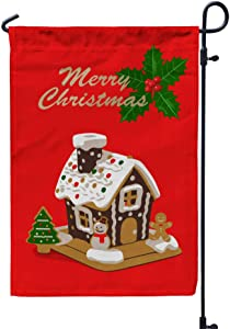 GROOTEY Welcome Garden Flag Home Yard Decorative 12X18 Inches Merry Christmas Gingerbread House Double Sided Seasonal Garden Flags Kids Christmas Flag