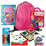 New Kidz Gear (Girls) Pink Kids Travel Activity Pack with Colouring in Set for Cars Boats Planes Trains Hours of Fun All in One Bag. Includes Games and Activity Set On The Go - Great Girls Activity