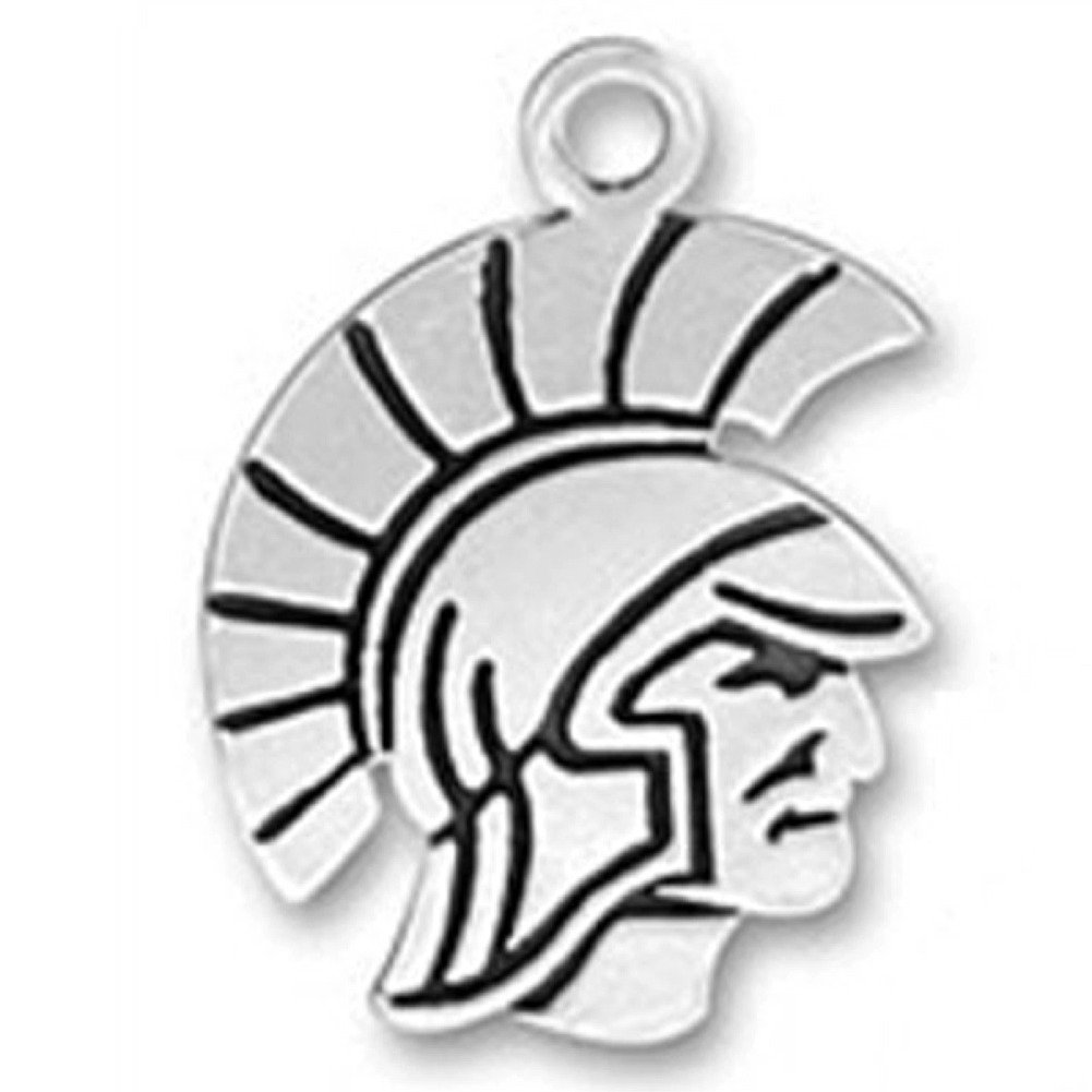 Sterling Silver Girls .8mm Box Chain Spartan Helmet Warrior Face Pendant Necklace