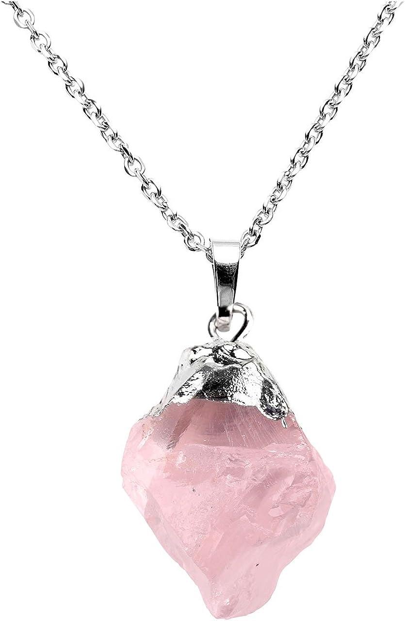 Jovivi - Collar con colgante de piedra de cuarzo con amatista natural irregular