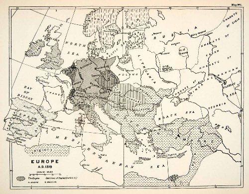 1932-print-map-europe-ottoman-empire-naples-bohemia-hungary-savoy-venice-saxony-relief-line-block-ma