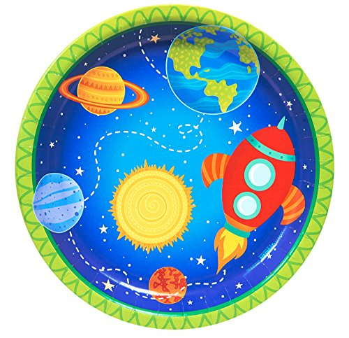 BirthdayExpress Solar System Rocket to Space Astronaut Party Supplies - Dinner Plates (8)
