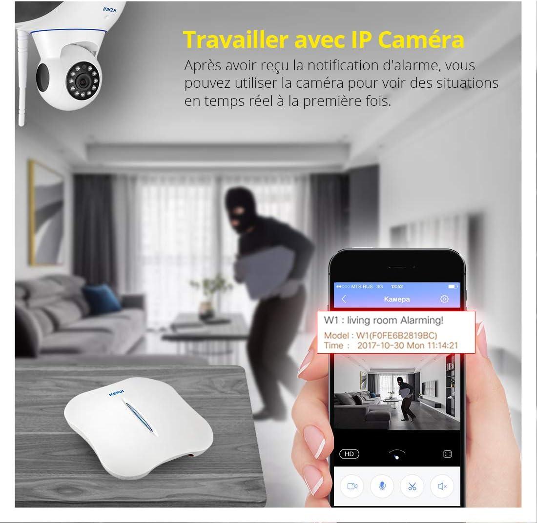 KERUI Cam/éra IP W1 WiFi Kit Alarme Maison sans-Fil Sir/ène Alarme de Syst/ème Anti-effraction Intrus Syst/ème Composeur Automatique D/étecteurs douverture//avertisseurs dentr/ée