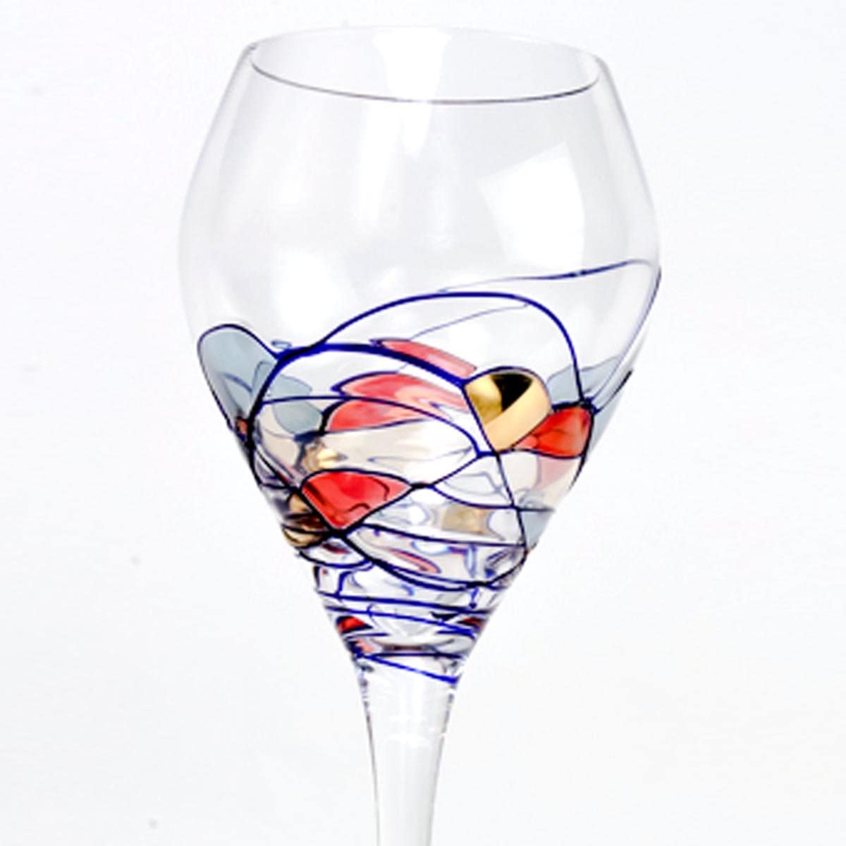 Set Of Four Cobalt Blue Swirl//Stained Glass Pattern 16 Oz Goblet Crystal Glassware - Romanian Crystal Barware Milano Design 4