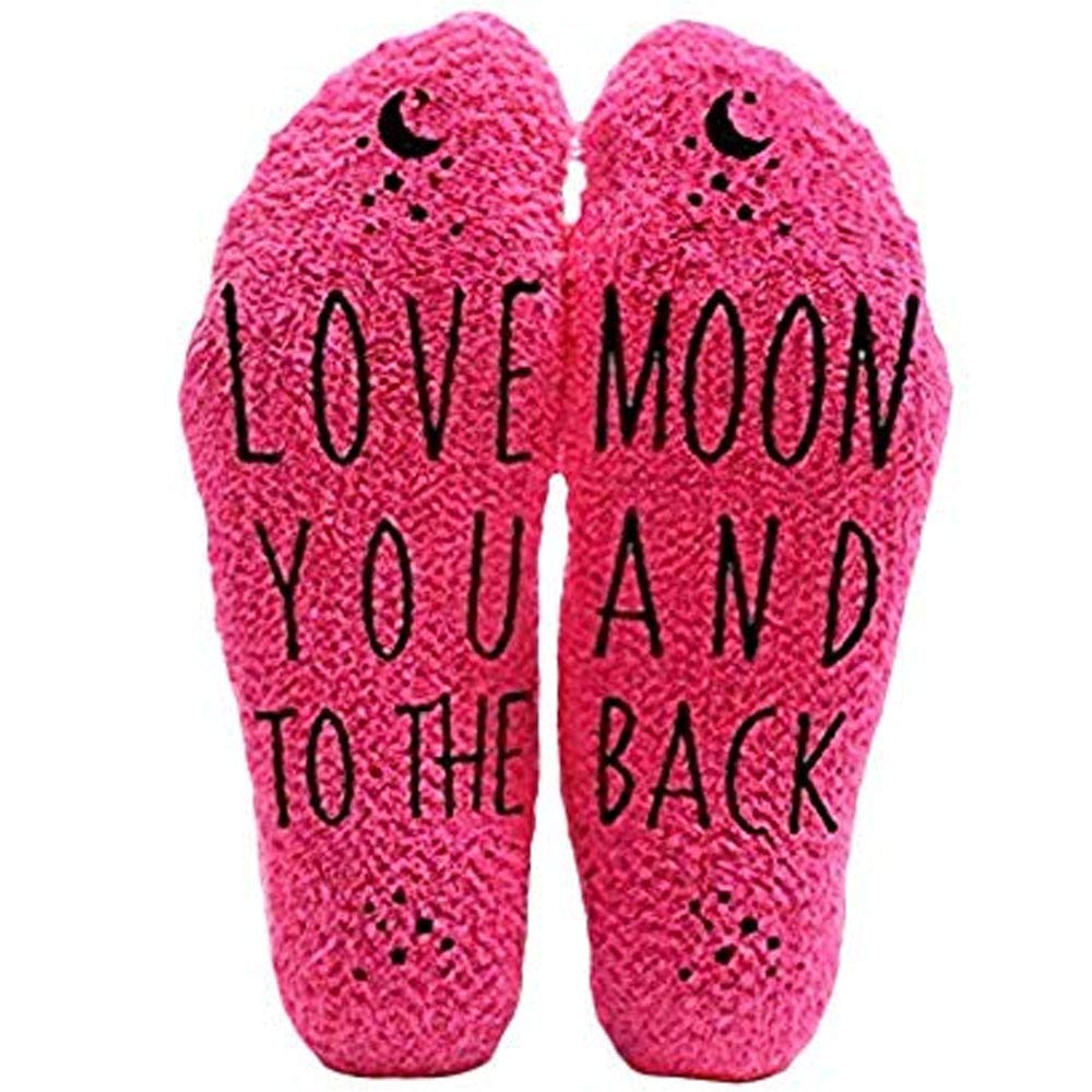 Love You to the Moon and Back Funny Socks - Cool Pink Fuzzy Novelty Cupcake Packaging for Her - Gift Idea for Mom, Wife, Sister, Friend, Aunt or Grandma - Birthday, Christmas, Anniversary - 1 Pair by HUMOR US HOME GOODS