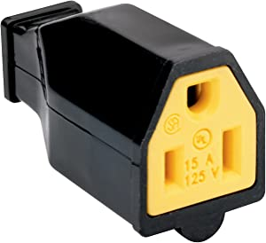 Legrand - Pass & Seymour SA993BKCC10 15-Amp 125-volt Straight Blade Connector Two Pole Three Wire, Black