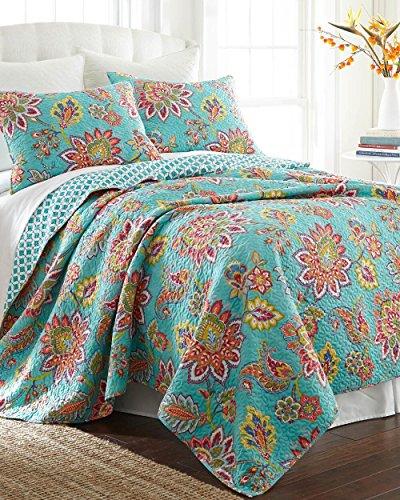 Jacobean Floral Vine Print Turquoise 3pc FULL/QUEEN Size Quilt Set (Floral Print Jacobean)