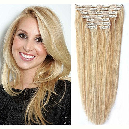 Balayage Clip in Extensions Remy Human Hair, Re4U Hair Human Strawberry Blonde And Bleach Blonde Highlights Full Head Clip Hair Extensions Color #27/613 (20
