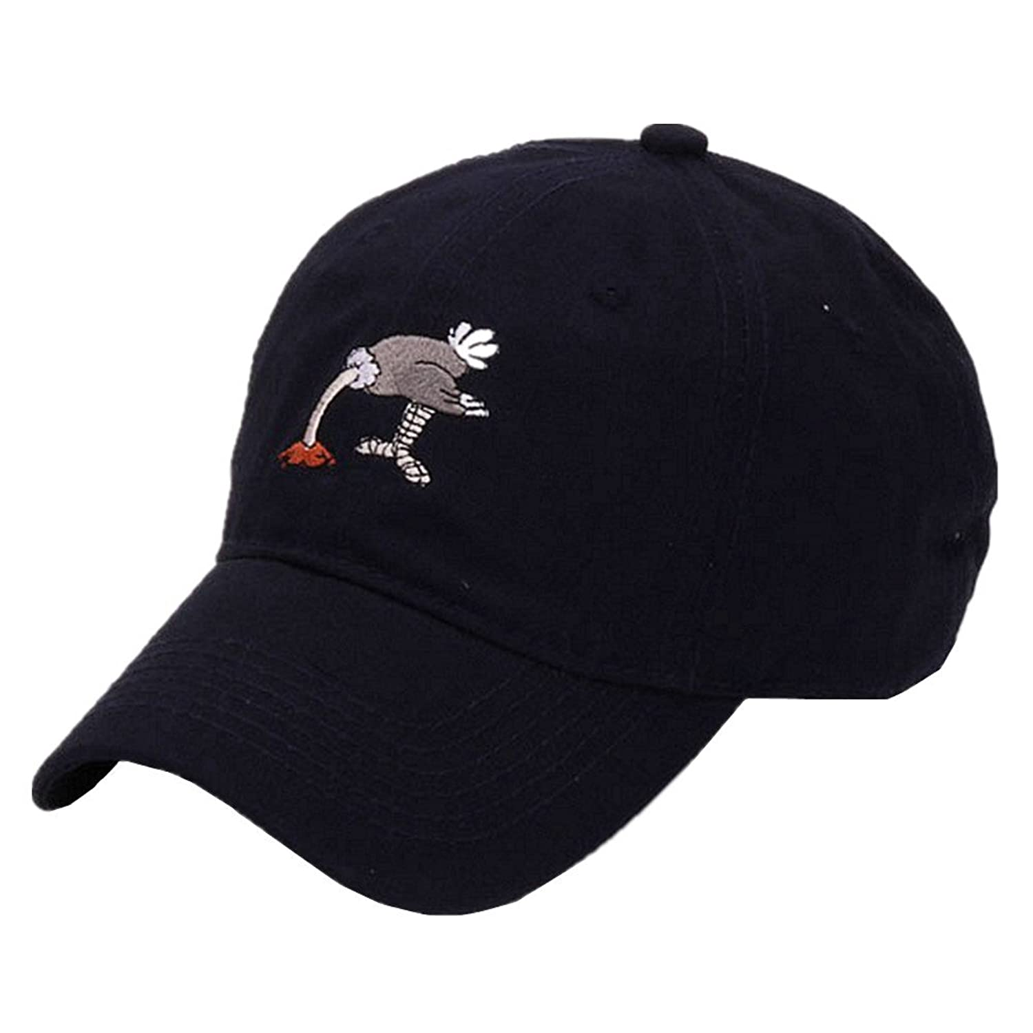 Selcet Black Stupid Ostrich Embroidery Baseball Cap Cotton Dad Hat Casual Tourism