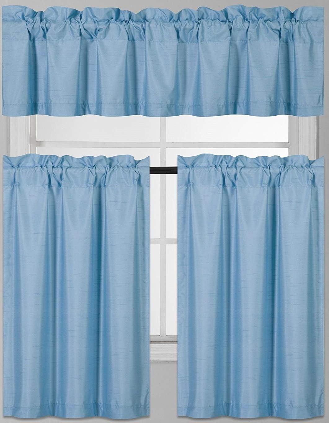 Goldenlinens 3 PC Kitchen Window Valance Tier Curtain Faux Silk Panels Room Darkens, Thermal Blackout Curtain Set (Light Blue)