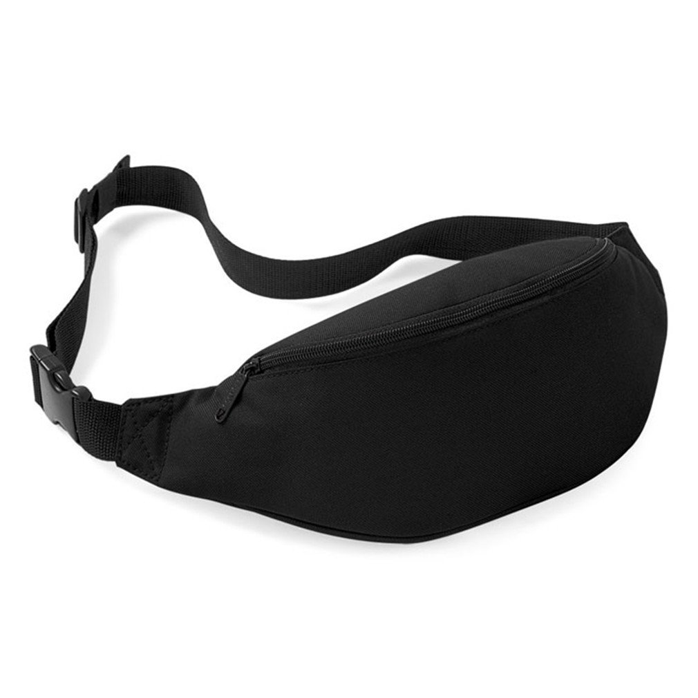 BAGGY New Unisex Travel Handy Fanny Belt Zipper Waist Pack Black