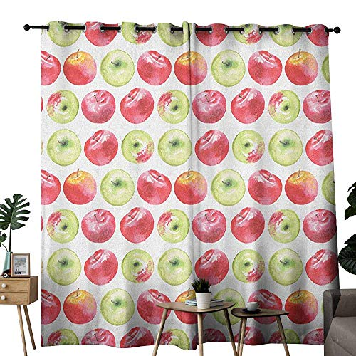 - duommhome Apple Fresh Curtains Watercolor Macoun Cameo and Granny Smith Drawing in Agricultural Yield Pattern Privacy Protection W120 x L84 Apple Green Red