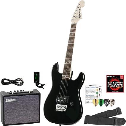Fender Starcaster Mini Stratocaster W/Humbucker Black Electric Guitar Pack - Incluye: Starcaster 3/4 Tamaño Mini Black Strat, correa de guitarra, púas de guitarra, cable de guitarra y 10 W Amp de guitarra: