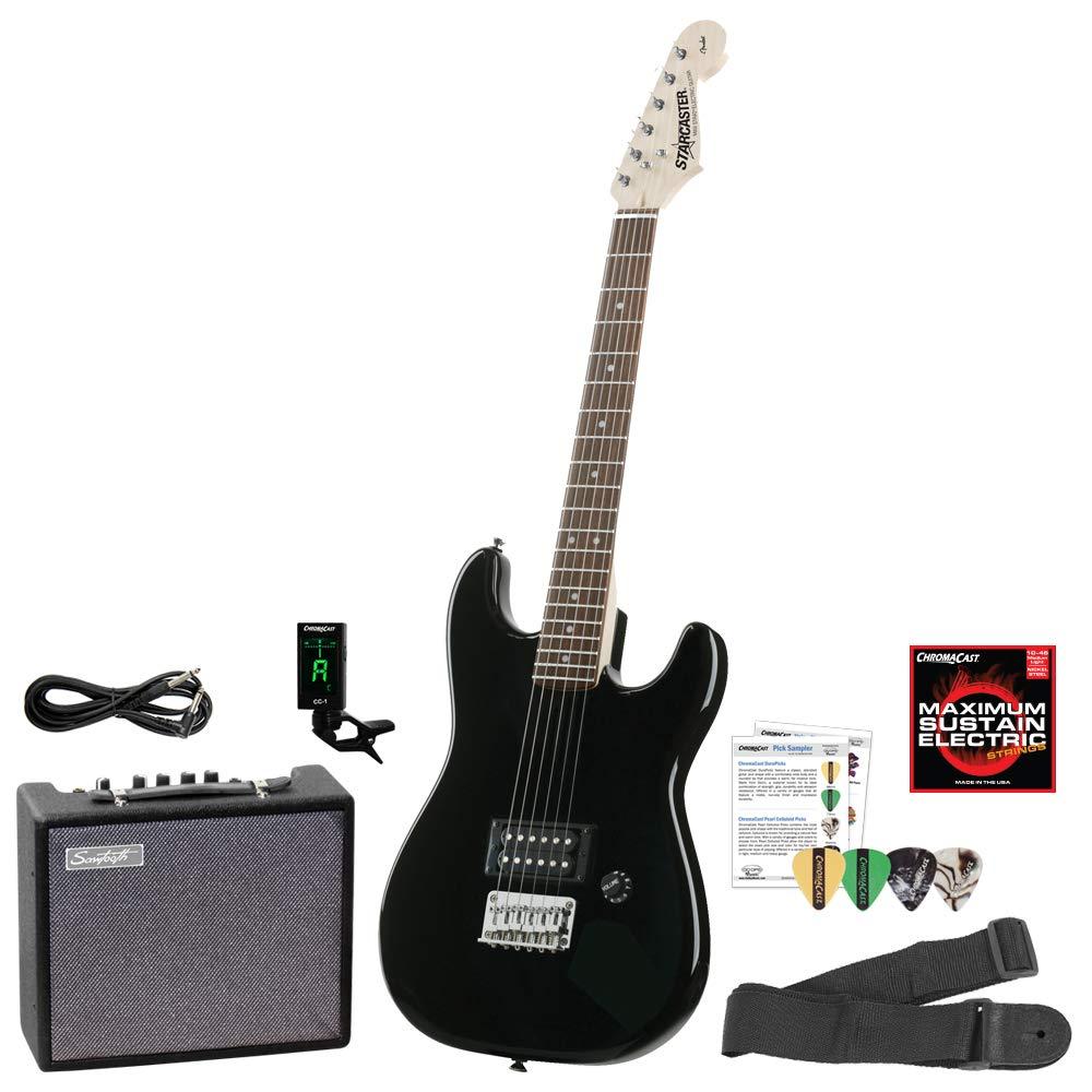 Fender starcaster Strat Guitarra eléctrica Bundle con amplificador, cable de audio para instrumentos, correa, cuerdas, púas y - Fiesta Rojo: Amazon.es: ...