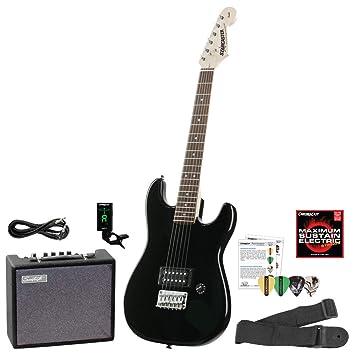 Fender starcaster Strat Guitarra eléctrica Bundle con amplificador, cable de audio para instrumentos, correa