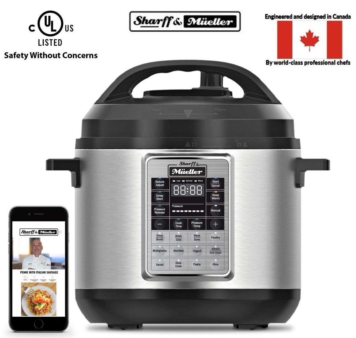 Sharff & Mueller Electric Pressure Cooker 6 Quart Stainless Steel, 12 in 1 Programmable Multipot, Slow Cooker, Auto Steam Release Button, Delayed Start, With Glass Lid, Free RecipeBook product image