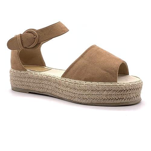 16b36ead94f451 Angkorly - Chaussure Mode Sandale Espadrille Plateforme Ouvert Plate Femme  avec de la Paille Corde tressé