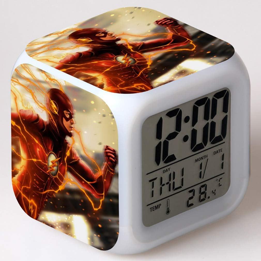 SXWY The Flash Season Reloj Despertador Digital Luces de Colores Humor Reloj Despertador Cuarteto Disponible Carga USB Adecuado para niños, niñas y niños (05)