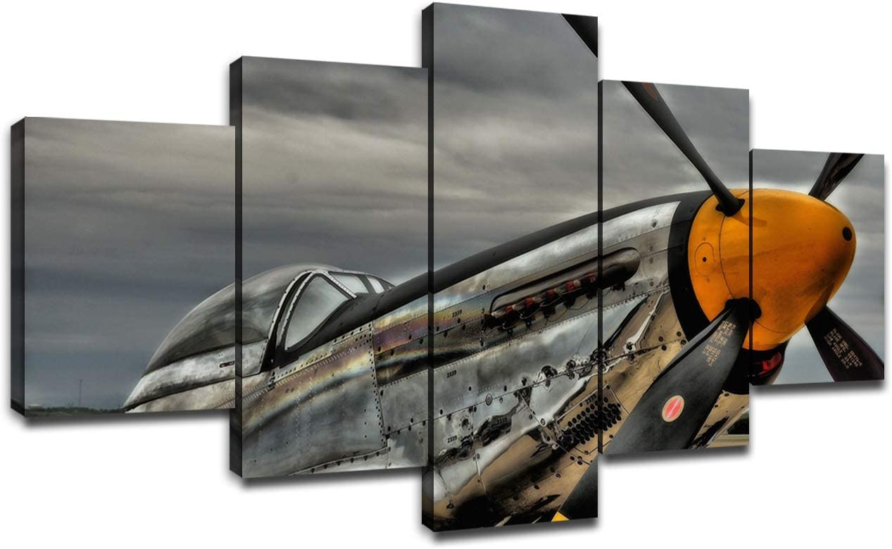 P-51 Mustang World War II Fighter Bomber 5 Panel Canvas Prints Wall Art Military Aircraft Airplane Pictures Frame Wall Decor Home Office Bedroom Decorations(60''Wx32''H)