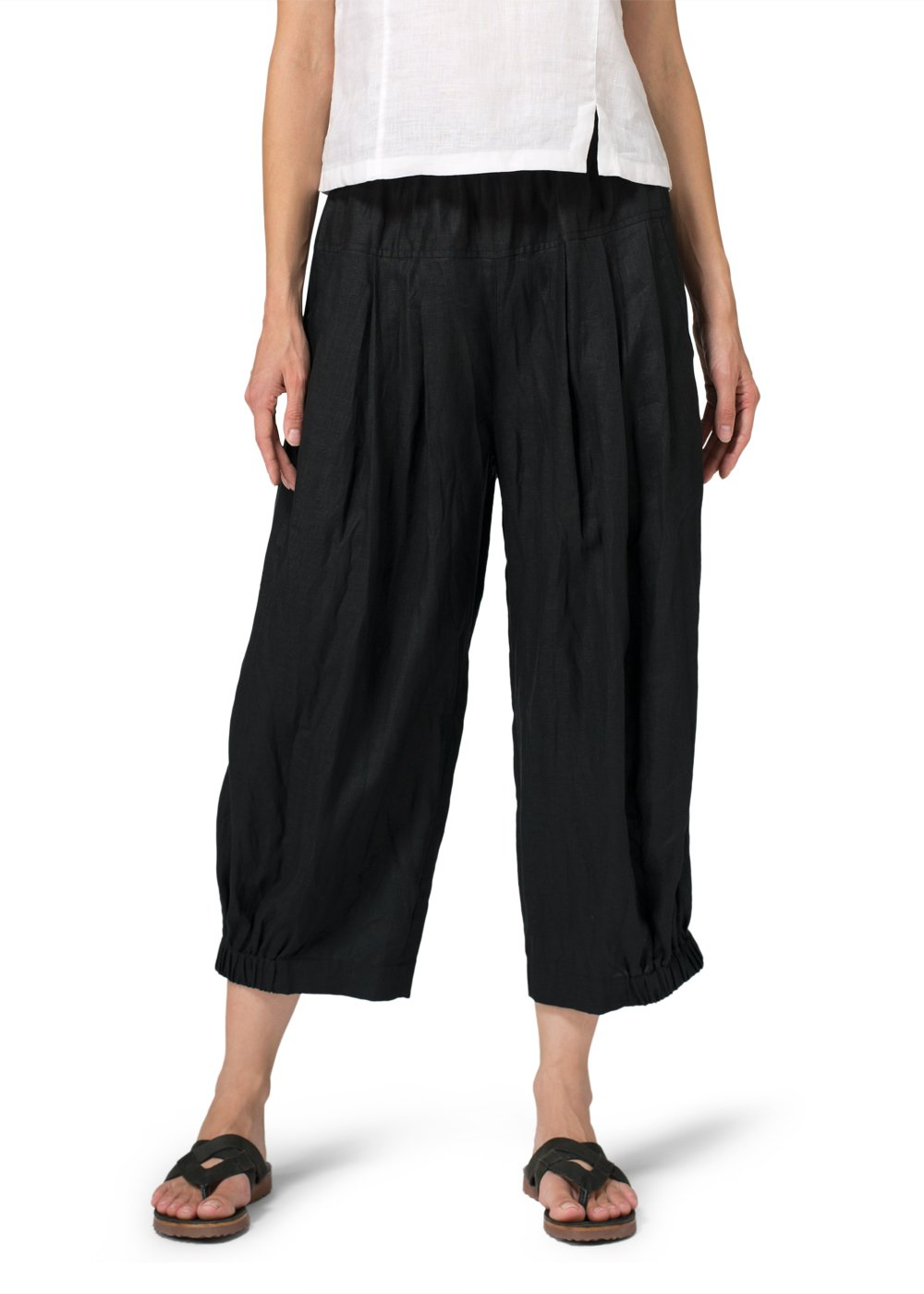 Vivid Linen Crumple Effect Harem Pants (Long)-XL-Black