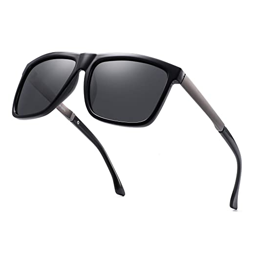 c8748177d7 Polarized Mirrored Sunglasses Square Driving Sun Glasses Shades for Men  Women (Black Polarized Grey