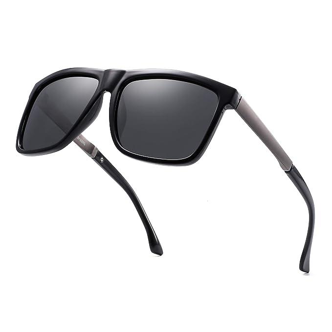 Amazon.com: Gafas de sol polarizadas con espejo cuadrado ...