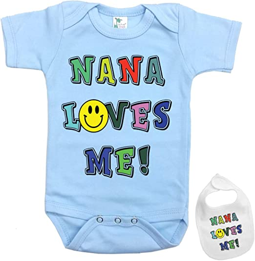 My Nana Loves me to The Moon and Back Cute Long Bodysuit Girl boy Infant Toddler Baby Clothes Creeper