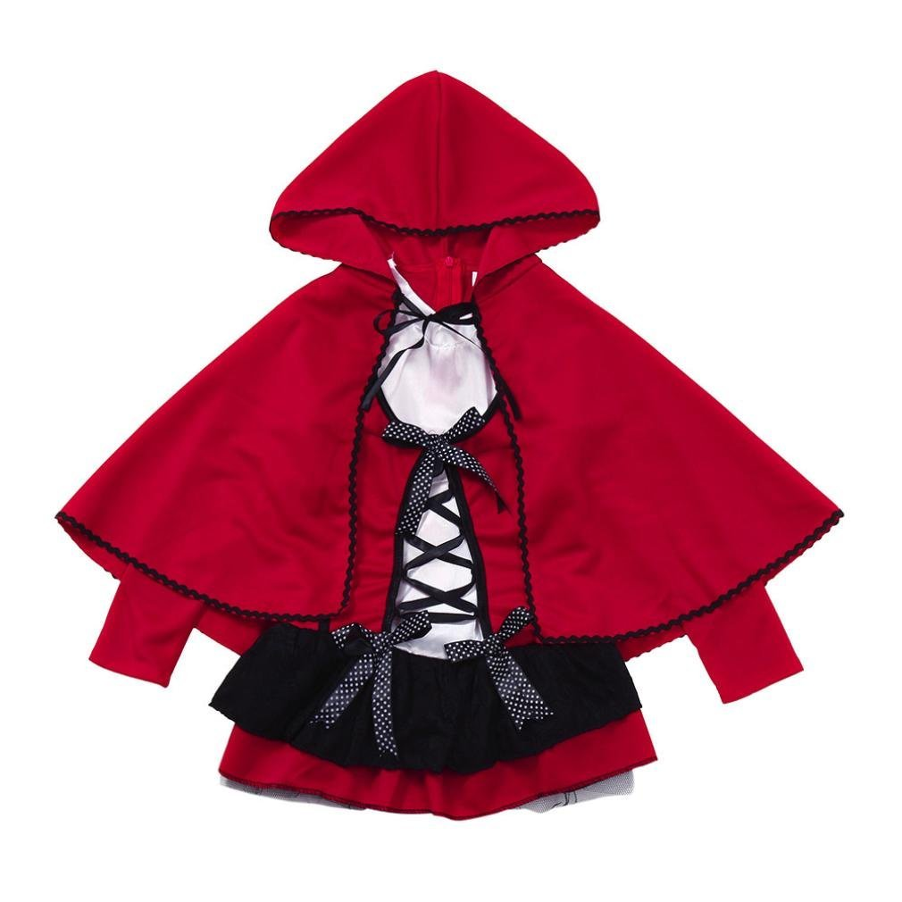 Jchen(TM) Halloween Costume Toddler Kids Child Little Girls Halloween Clothes Party Performance Dress+Hooded Cloak Outfits Sets for 3-10 Years Old (Age: 6 T)