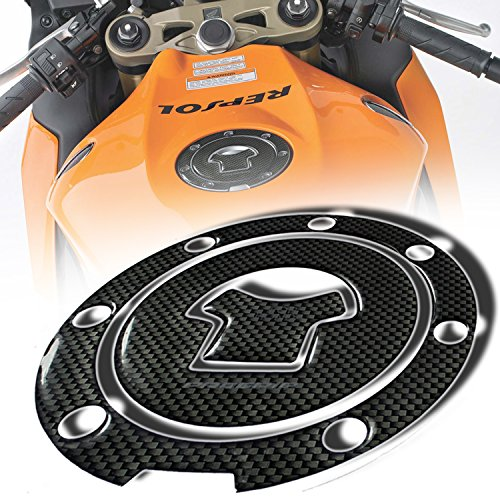 Cb750 Starter Cover (3D Gas Tank Fuel Cap Cover Protector Pad for Honda CBR-1000RR/600RR (Carbon Fiber Look))