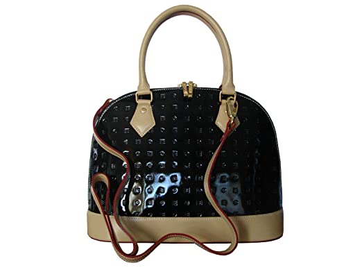 3b0e5a3bb70a Image Unavailable. Image not available for. Color  Arcadia Italian Patent  Leather Tote Handbag - Black