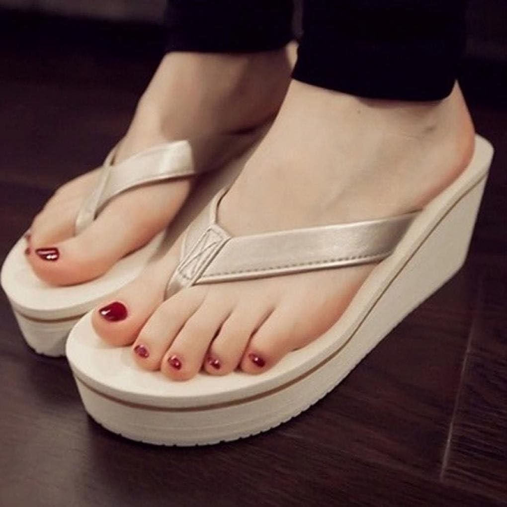 YANG-YI Women Flip Flops Sandals Boho Muffin Slope with Sandals