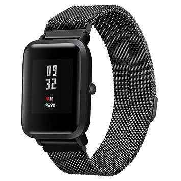 diadia Correa de reloj deportivo de acero inoxidable para Xiaomi Amazfit Bip Youth Watch, negro: Amazon.es: Deportes y aire libre
