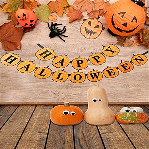 LFEEY 5x5ft Happy Halloween Backdrop Track or Treat Cute Grimace Pumpkin Photography Background Fall Leaves Rural Wooden Board Spider Kid Children Party Decoration Photo Studio Props Vinyl Banner -